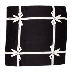 Chanel Silk Bow Ribbon Scarf